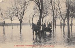 ¤¤  -  95  -  BASSE-INDRE   -  Inondations 1910  -  La Place Du Marché  -  Attelage   -  ¤¤ - Basse-Indre
