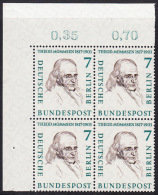 !a! BERLIN 1957 Mi. 163 MNH BLOCK From Upper Left Corner -Famous Berlin Men: Theodor Mommsen - [5] Berlin