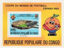 REPUBLIQUE DU CONGO - BLOC FEUILLET OBLITERE COUPE DU MONDE FOOTBALL -ESPAGNE 1982 - Gebraucht