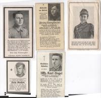 5 Avis De Décès Armée Allemande Sterdebild Death Cards 1941- 1944 Guerre 39-45 Wwii - 1939-45