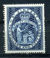 SAINT  VINCENT   1955     QE II   $2.50   Deep  Blue    Perf  14     MNH - St.Vincent (...-1979)