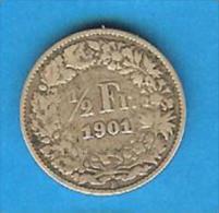 Monnaies ) Suisse - 1/2 Franc  - 1901  - Argent - - Suiza