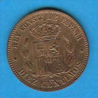 Monnaies ) ESPAGNE - Alfonso XII - Diez Centimos - 1878 I - Om - Superbe - Espagne