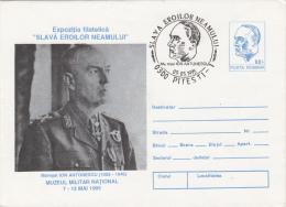 FIELD MARSHALL ION ANTONESCU, MILIRTARY MUSEUM, COVER STATIONERY, ENTIER POSTAUX, 1995, ROMANIA - Ganzsachen