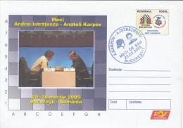 CHESS, ECHECS, A. ISTRATESCU- A. KARPOV MATCH, COVER STATIONERY, ENTIER POSTAUX, 2005, ROMANIA - Schaken