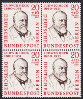 !a! BERLIN 1957 Mi. 168 MNH BLOCK -Famous Berlin Men: Prof. Ludwig Heck - [5] Berlin