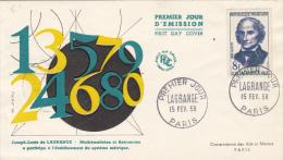JOSEPH LOUIS LAGRANGE, ASTROLOGY, EMBOISED COVER FDC, 1958, FRANCE - Astrology