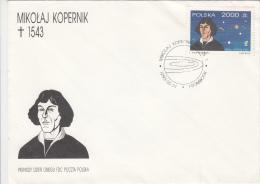 ASTROLOGY, NIKOLAUS COPERNICUS, CONSTELATIONS, COVER FDC, 1993, POLAND - Astrology