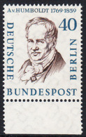 !a! BERLIN 1957 Mi. 171 MNH SINGLE W/ Bottom Margin -Famous Berlin Men: Alexander Frh. Von Humboldt - [5] Berlin