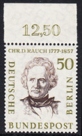 !a! BERLIN 1957 Mi. 172 MNH SINGLE W/ Top Margin -Famous Berlin Men: Christian Daniel Rauch - [5] Berlin