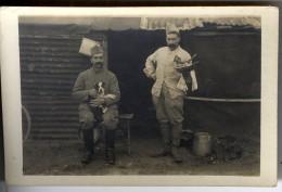 PORTRAITS DE 2 SOLDATS   -  CARTE PHOTO ECRITE DE PERNANT 02 - War 1914-18