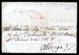 1841 - LETTERA PREFILATELICA COMPLETA DI TESTO INTERNO DA SANREMO AD ALBENGA - Italie