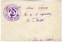 TB 569 - MILITARIA - Lettre - Franchise Militaire - Marine Française - Service A  La Mer - CHERBOURG Pour LE PORTEL - Marcophilie (Lettres)