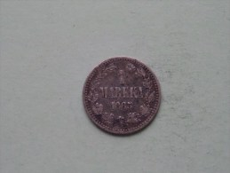 1872 S - 1 Markka / KM 3.2 ( Silver )( Uncleaned / For Grade, Please See Photo ) ! - Finland