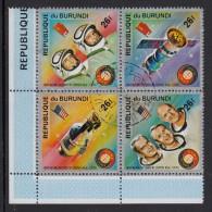 Burundi Used Scott #477 Block Of 4 26fr Apollo Soyuz Space Test Project - Burundi