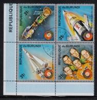 Burundi Used Scott #478 Block Of 4 31fr Apollo Soyuz Space Test Project - 1970-79: Oblitérés