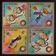 Burundi Used Scott #C216 Block Of 4 27fr Apollo Soyuz Space Test Project - 1970-79: Oblitérés