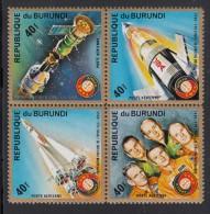 Burundi MNH Scott #C217 Block Of 4 40fr Apollo Soyuz Space Test Project - 1970-79: Neufs