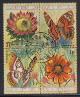 Burundi Used Scott #435 Block Of 4 1fr Flowers And Butterflies - Burundi