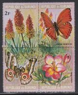 Burundi Used Scott #436 Block Of 4 2fr Flowers And Butterflies - Burundi