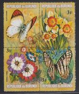 Burundi Used Scott #437 Block Of 4 3fr Flowers And Butterflies - Burundi