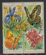 Burundi Used Scott #438 Block Of 4 5fr Flowers And Butterflies - Burundi