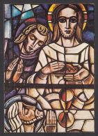 "17209/ KOEKELBERG, Basilique du Sacr�-Coeur, Vitraux de J. SLAGMUYLDER, ""Kristus en H. Johannes"", 2 scans"
