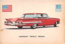 """02751 """"CHEVROLET IMPALA SEDAN""""  CAR.  ORIGINAL TRADING CARD. """" AUTO INTERNATIONAL PARADE, SIDAM - TORINO"""". 1961 - Engine"""