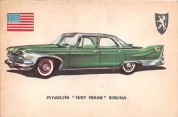 """02752 """"PLYMOUTH FURY SEDAN""""  CAR.  ORIGINAL TRADING CARD. """" AUTO INTERNATIONAL PARADE, SIDAM - TORINO"""". 1961 - Engine"""