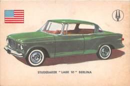 """02753 """"STUDEBAKER LARK VI SEDAN""""  CAR.  ORIGINAL TRADING CARD. """" AUTO INTERNATIONAL PARADE, SIDAM - TORINO"""". 1961 - Engine"""