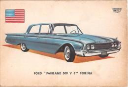 """02755 """"FORD FAIRLANE 500 V 8 SEDAN""""  CAR.  ORIGINAL TRADING CARD. """" AUTO INTERNATIONAL PARADE, SIDAM - TORINO"""". 1961 - Engine"""