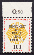 !a! BERLIN 1957 Mi. 174 MNH SINGLE W/ Top Margin -German Bundestag At Berlin - [5] Berlin