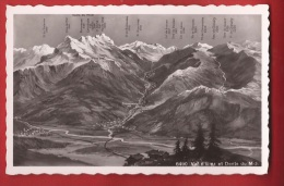 TVS2-24 Val D'Illiez Et Dents Du Midi. Panorama, Troistorrents, Morgins. Visa Censure 1939. Perrochet Non Circulé - VS Valais
