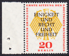 !a! BERLIN 1957 Mi. 175 MNH SINGLE W/ Left Margin -German Bundestag At Berlin - [5] Berlin