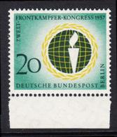 !a! BERLIN 1957 Mi. 177 MNH SINGLE W/ Bottom Margin -World-Combatant-Congress , Berlin - [5] Berlin