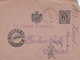 Rumänien 1893 - 5 Bani Ganzsache Auf Pk - Ganzsachen