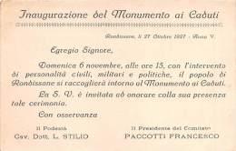 """02762 """"RONDISSONE - INAUGURAZIONE DEL MONUMENTO AI CADUTI"""". CARTONCINO D´INVITO.  27.10.1927 - Programmi"""