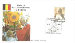 76938)  FDC Della Visita Di Ss.giovanni Paolo II In BENELUX-visita A  BRUXELLES- 19-5-1985 - Cartas Commemorativas