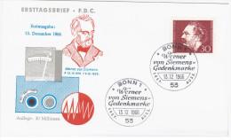 Germany Deutschland 1966 FDC Werner Von Siemens Inventor Industrialist, Canceled In Bonn - FDC: Sobres