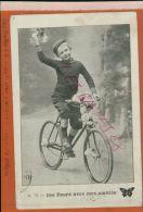 Enfants à Bicyclette  Ces Fleurs Avec Mes Amitiès  - Cachet TRESORS ET POSTES  1914 MILITARIA, DEC 2014 DIV 587 - Altri