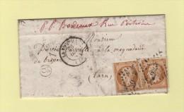 La Rochelle - Boite Rurale Supplementaire O2 - Courrier De Tasdon - Multiples Transit Au Dos - Voir Scan - 1849-1876: Classic Period