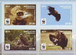 Kyrgyzstan 2014 WWF Black Vulture Birds Block Of 4v MNH - W.W.F.
