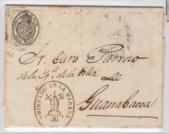 1858-H-57. * CUBA ESPAÑA SPAIN. ISABEL II. CORREO OFICIAL. S/F. OFFICIAL MAIL. SOBRE ½ ONZA. OBISPADO DE LA HABAN - Kuba