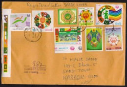 Old Stamps Used Of SAARC SAF Games, Cover Registered From BANNU GPO PAKISTAN To Karachi 13.12.2014 Flags Of India Nepal - Pakistan