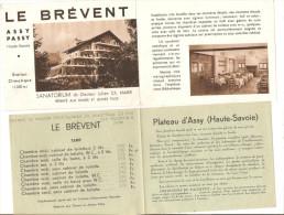 PLATEAU D ASSY : LE BREVENT , SANATORIUM RESERVE AUX DAMES ET JEUNES FILLES - Dépliants Touristiques