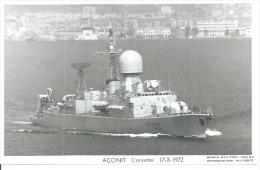 """CP PHOTO: """" ACONIT """" - CORVETTE F 703 - 17-3-1972 ( BATEAU DE GUERRE ) - Guerre"""