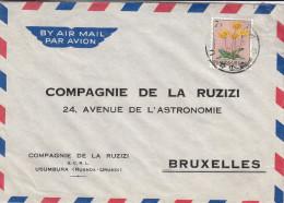 Fleurs - Ruanda Urundi - Lettre De 1960 - Oblitération Usumbura - Ruanda-Urundi