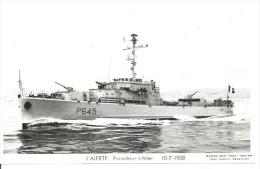 """CP PHOTO: """" L'ALERTE """" - ESCORTEUR-COTIER P 645  10-7-1958    (  - BATEAU DE GUERRE ) - Warships"""