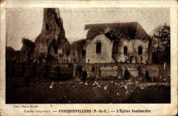 62-FONCQUEVILLERS..GUERRE 1914-1915..L'EGLISE BOMBARDEE...CPA ANIMEE - Andere Gemeenten