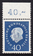!a! BERLIN 1959 Mi. 185 MNH SINGLE W/ Top Margin -Federal President Theodor Heuss - [5] Berlin